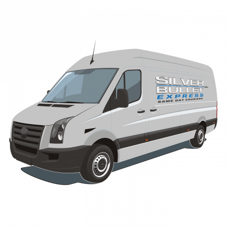 Silver-Bullet-Express-Same-Day-Courier-Grey-Van-With-Logo